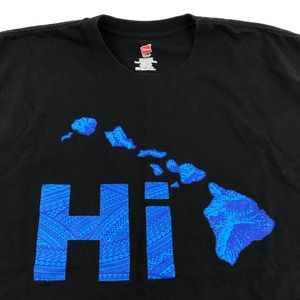 Hawaii Hawaiian HI Islands Black T Shirt Men's 2XL